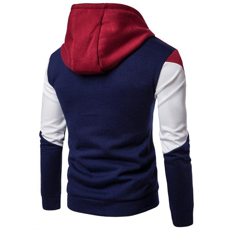 Men's Casual Hoodie Fleece Splicing Fabric - DEEP BLUE L