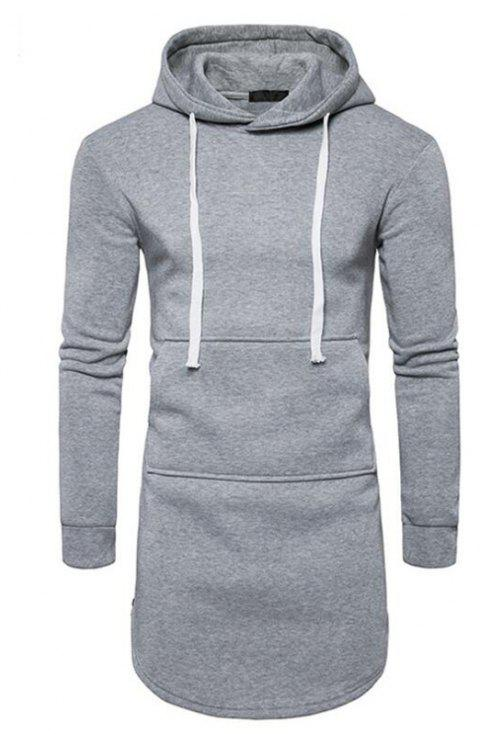 Men's Casual Hoodie Pocket Solid Long Sleeve - GRAY M