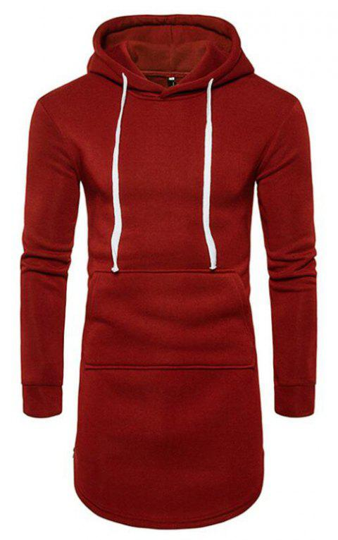 Men's Casual Hoodie Pocket Solid Long Sleeve - WINE RED S