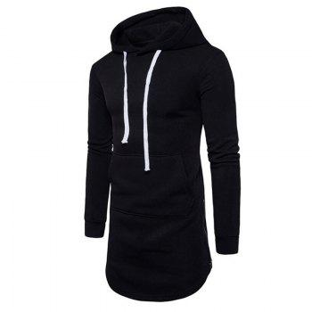 Men's Casual Hoodie Pocket Solid Long Sleeve - BLACK L