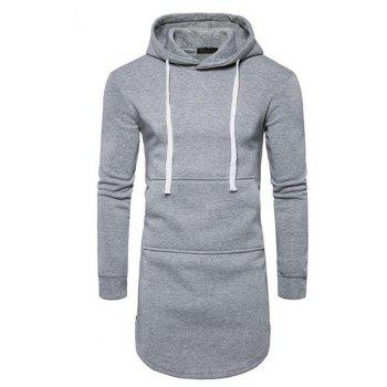Men's Casual Hoodie Pocket Solid Long Sleeve - GRAY GRAY