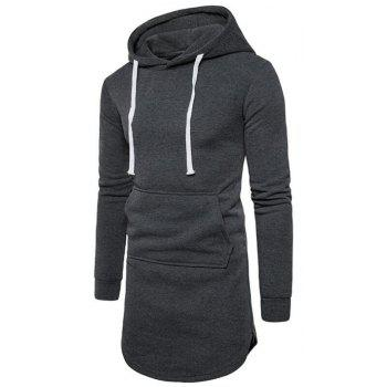 Men's Casual Hoodie Pocket Solid Long Sleeve - DARK GRAY DARK GRAY