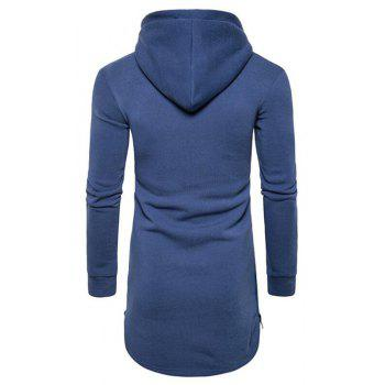 Men's Casual Hoodie Pocket Solid Long Sleeve - BLUE M