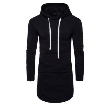 Men's Casual Hoodie Pocket Solid Long Sleeve - BLACK BLACK