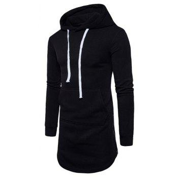 Men's Casual Hoodie Pocket Solid Long Sleeve - BLACK M