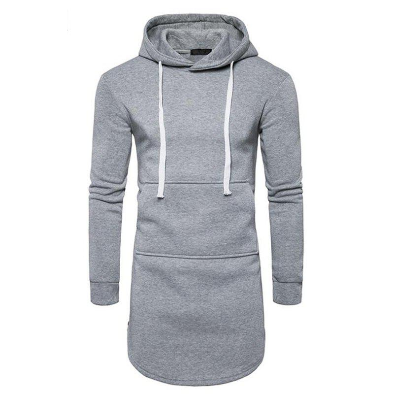 Men's Casual Hoodie Pocket Solid Long Sleeve - GRAY S