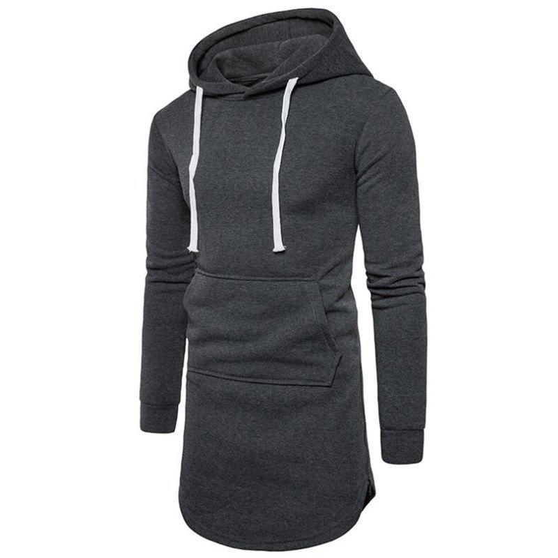 Men's Casual Hoodie Pocket Solid Long Sleeve - DARK GRAY M