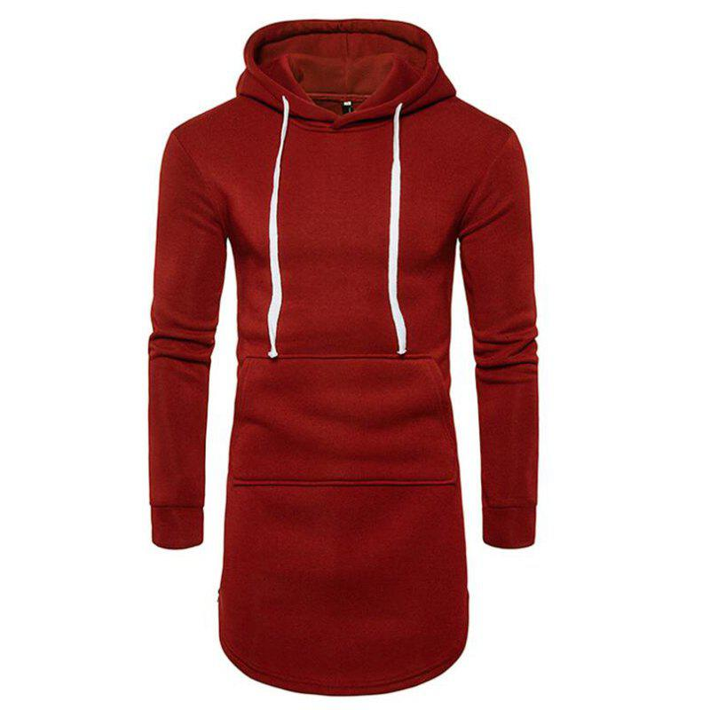 Men's Casual Hoodie Pocket Solid Long Sleeve - WINE RED L