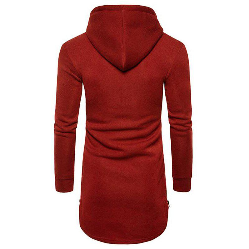 Men's Casual Hoodie Pocket Solid Long Sleeve - WINE RED M