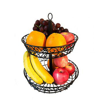 2 Tier Countertop Fruit Basket Holder Decorative Bowl Stand Fruits Vegetables Snacks Household Item - BLACK BLACK