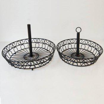 2 Tier Countertop Fruit Basket Holder Decorative Bowl Stand Fruits Vegetables Snacks Household Item -  BLACK