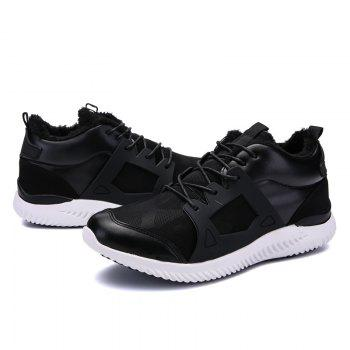 Men Casual New Trend for Fashion Outdoor Slip on Mesh Suede Rubber Flat Shoes - BLACK WHITE 44