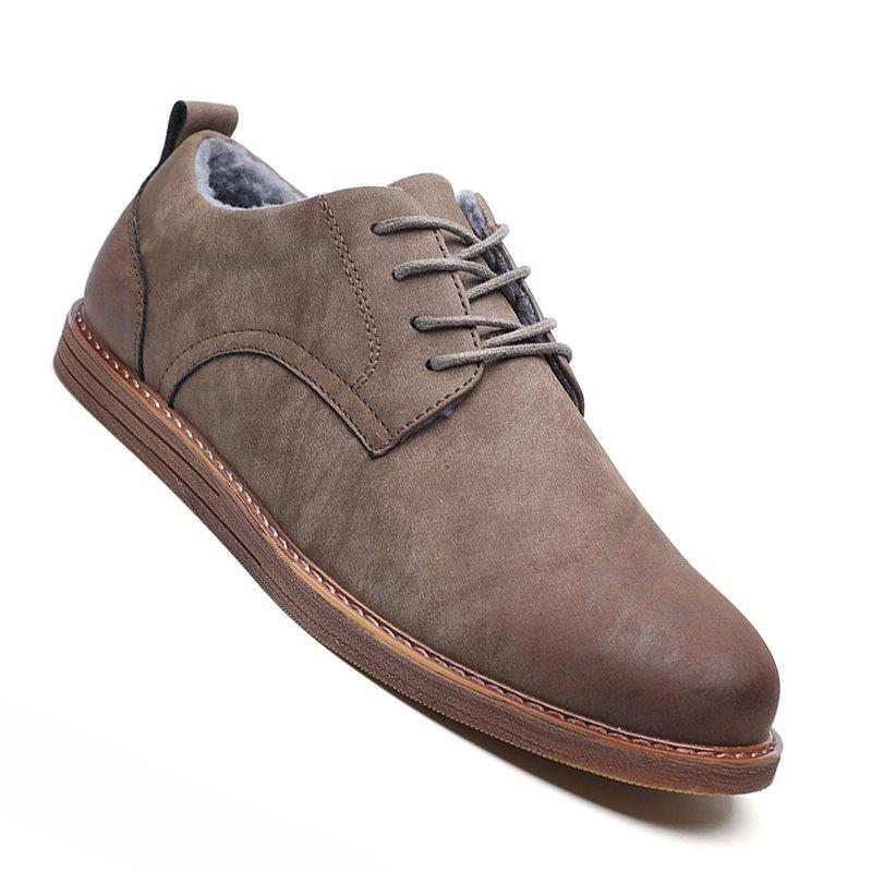 Men Casual New Trend for Fashion Outdoor Suede Rubber Flat Leather Shoes GRAY