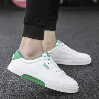 Men Casual New Trend for Fashion Outdoor Lace Up Rubber Suede Flat Leather Shoes - GREEN 39