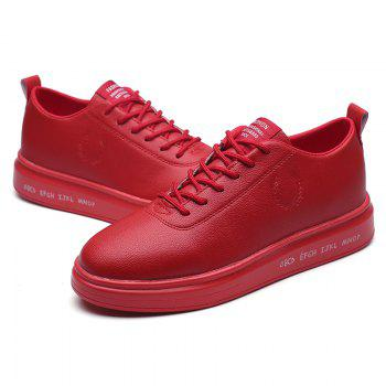 Men Casual New Outdoor Trend for Fashion Lace Up Rubber Flat Leather Shoes - RED 43
