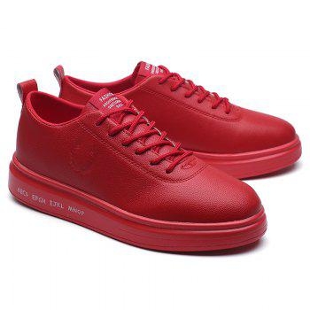 Men Casual New Outdoor Trend for Fashion Lace Up Rubber Flat Leather Shoes - RED 41