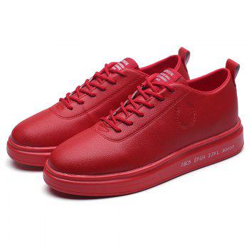 Men Casual New Outdoor Trend for Fashion Lace Up Rubber Flat Leather Shoes - RED 39