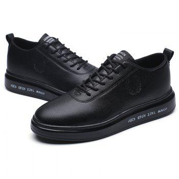 Men Casual New Outdoor Trend for Fashion Lace Up Rubber Flat Leather Shoes - BLACK 43