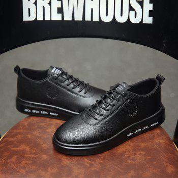 Men Casual New Outdoor Trend for Fashion Lace Up Rubber Flat Leather Shoes - BLACK 42