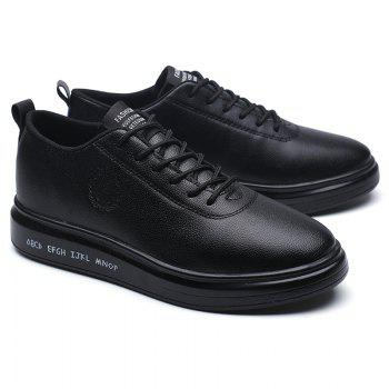 Men Casual New Outdoor Trend for Fashion Lace Up Rubber Flat Leather Shoes - BLACK 39