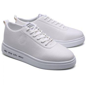 Men Casual New Outdoor Trend for Fashion Lace Up Rubber Flat Leather Shoes - WHITE 43