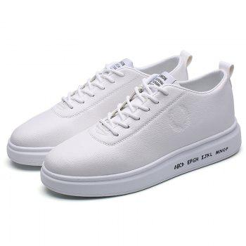 Men Casual New Outdoor Trend for Fashion Lace Up Rubber Flat Leather Shoes - WHITE 44