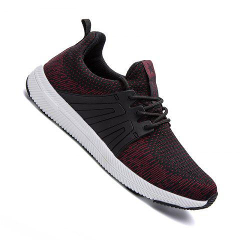 Men Casual New Outdoor Trend for Fashion Lace Up Rubber Flat Breathable Shoes - RED 40