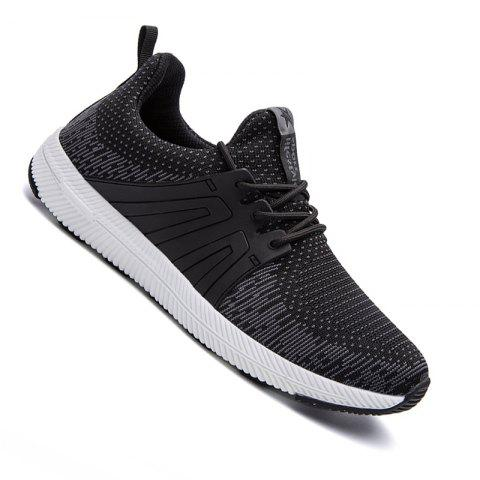 Men Casual New Outdoor Trend for Fashion Lace Up Rubber Flat Breathable Shoes - BLACK 39