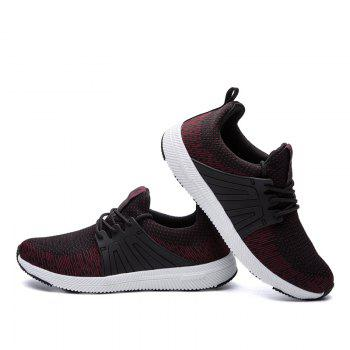 Men Casual New Outdoor Trend for Fashion Lace Up Rubber Flat Breathable Shoes - RED 43