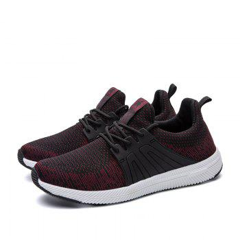 Men Casual New Outdoor Trend for Fashion Lace Up Rubber Flat Breathable Shoes - RED 44