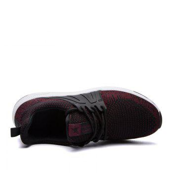 Men Casual New Outdoor Trend for Fashion Lace Up Rubber Flat Breathable Shoes - RED 41