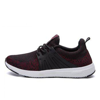 Men Casual New Outdoor Trend for Fashion Lace Up Rubber Flat Breathable Shoes - RED 39