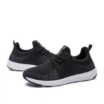 Men Casual New Outdoor Trend for Fashion Lace Up Rubber Flat Breathable Shoes - BLACK 43