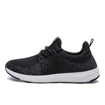 Men Casual New Outdoor Trend for Fashion Lace Up Rubber Flat Breathable Shoes - BLACK 42