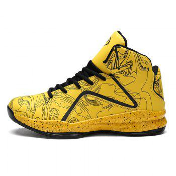 Men Casual New Outdoor Trend for Fashion Lace Up Rubber Flat Basket Shoes - YELLOW 41