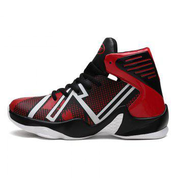 Men Casual New Outdoor Trend for Fashion Lace Up Rubber Leather Basket Flat Shoes - RED 46