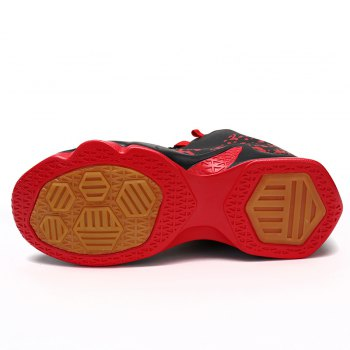 Men Breathable Basketball Shoes Jogging Athletic Walking Sneakers - BLACK/RED 45