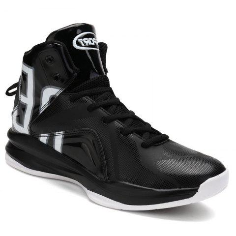 Men Athletic Basketball Shoes Jogging Breathable Walking Sneakers - BLACK 39