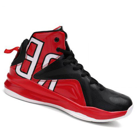 Men Athletic Basketball Shoes Jogging Breathable Walking Sneakers - RED 44