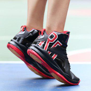 Men Athletic Basketball Shoes Jogging Breathable Walking Sneakers - BLACK/RED 40