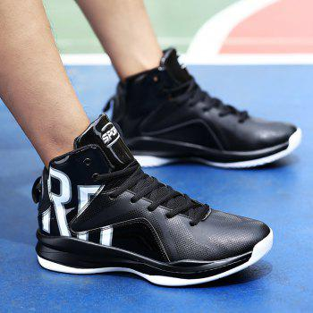 Men Athletic Basketball Shoes Jogging Breathable Walking Sneakers - BLACK 46
