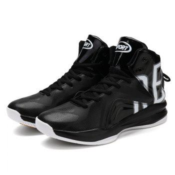 Men Athletic Basketball Shoes Jogging Breathable Walking Sneakers - BLACK 41