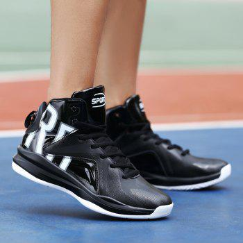 Men Athletic Basketball Shoes Jogging Breathable Walking Sneakers - BLACK 42