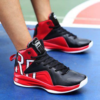 Men Athletic Basketball Shoes Jogging Breathable Walking Sneakers - RED 45