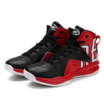 Men Athletic Basketball Shoes Jogging Breathable Walking Sneakers - RED 46