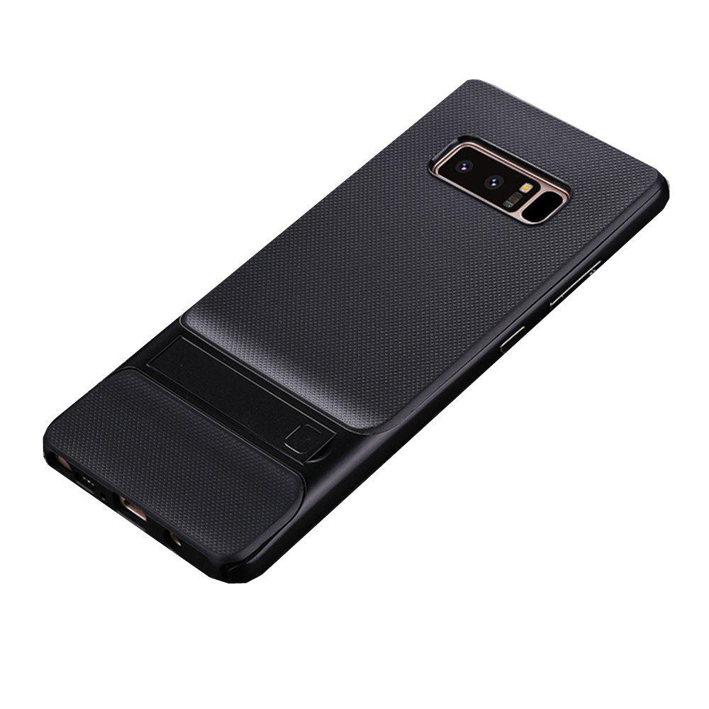 Shockproof Stand Back Cover Solid Color Hard PC + TPU Case for Samsung Galaxy Note 8 - BLACK