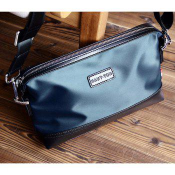 HAUT TON Waterproof Nylon Canvas Messenger Crossbody Bag - BLUE 27X6X17CM