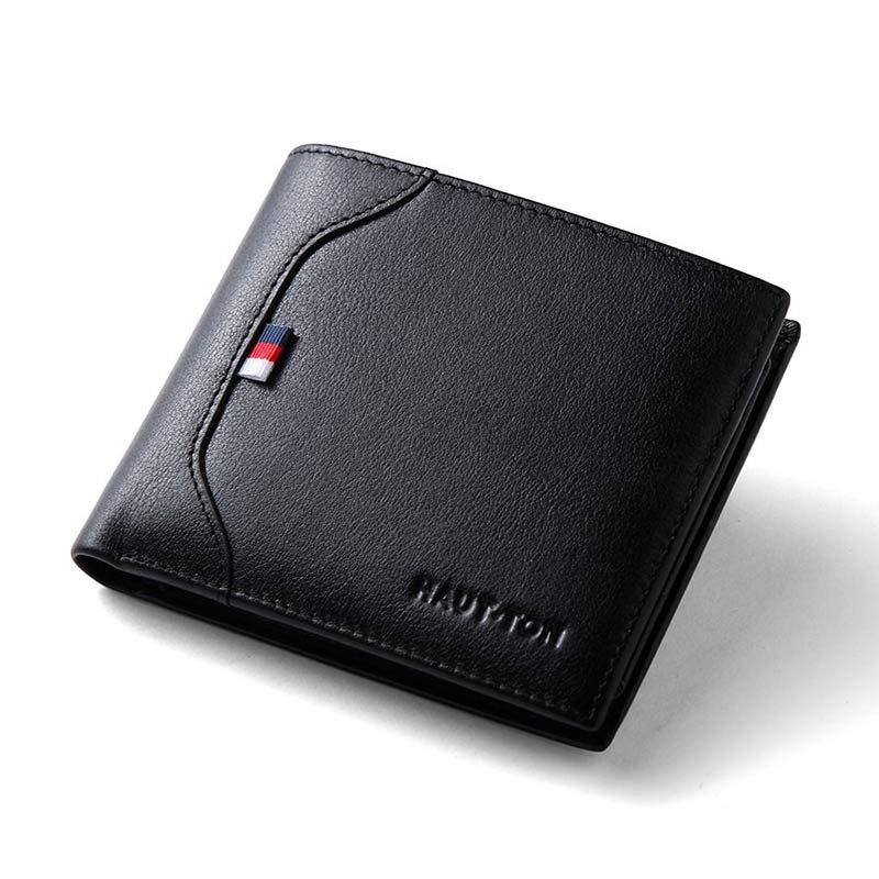 Hautton Slim Bifold Wallet for Men Trifold Leather Credit Card Holder - BLACK
