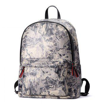 HAUT TON Design Printing Canvas Water Resistant Backpack - YELLOW+BLACK YELLOW/BLACK