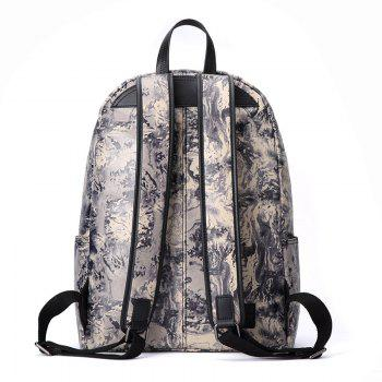 HAUT TON Design Printing Canvas Water Resistant Backpack - YELLOW/BLACK YELLOW/BLACK